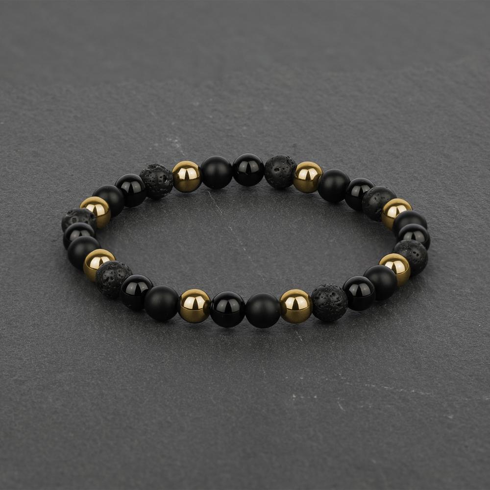 045bf9ff00240 Noir for Men Black Onyx, Black Lava and Gold Hematite Beaded Bracelet