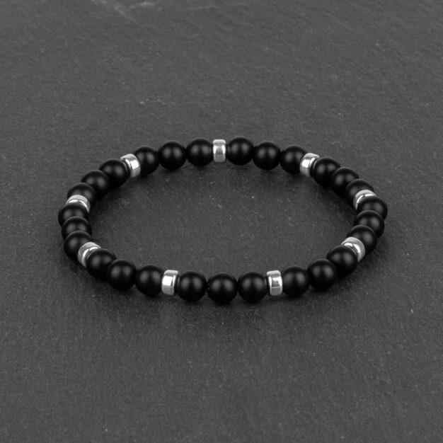 Noir for Men Matt Black Onyx & Sterling Silver Beaded Bracelet