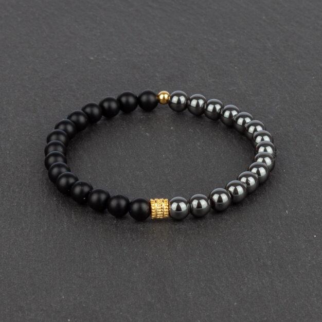 Limited Edition Matt Black Onyx, Hematite & Gold Beaded Bracelet
