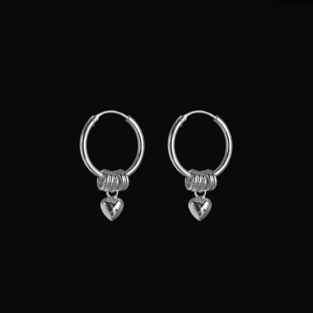Megberry Love Sterling Silver Heart Hoop Earrings