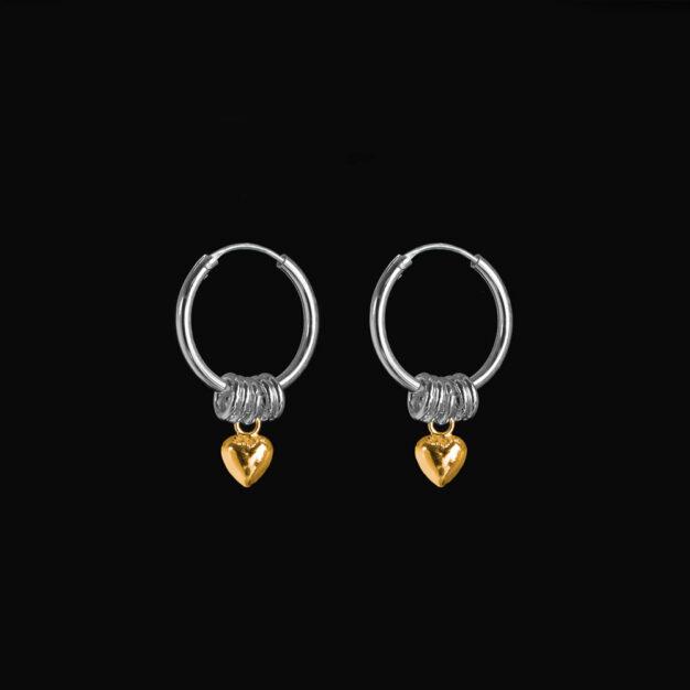 Megberry Love Sterling Silver & Gold Heart Hoop Earrings