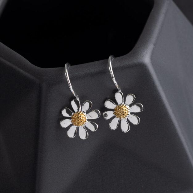 Megberry Daisy Sterling Silver Drop Earrings