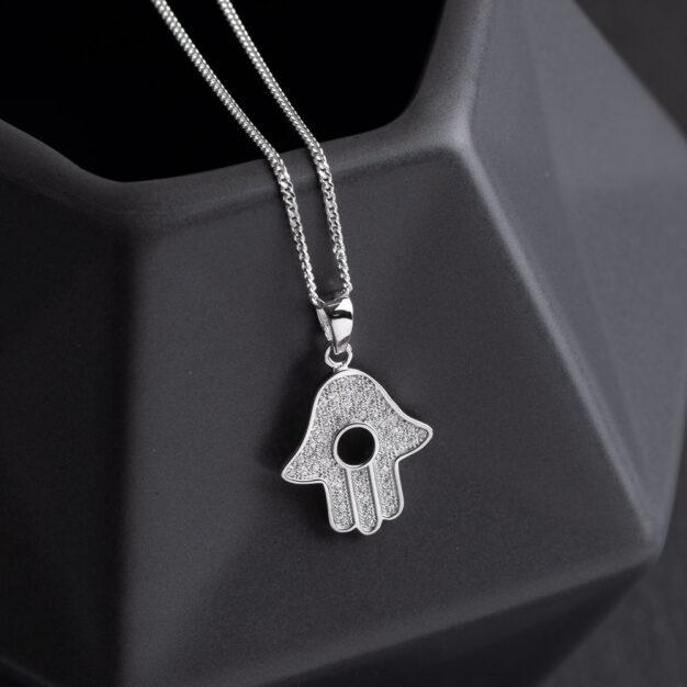 Megberry Sterling Silver Hamsa Necklace