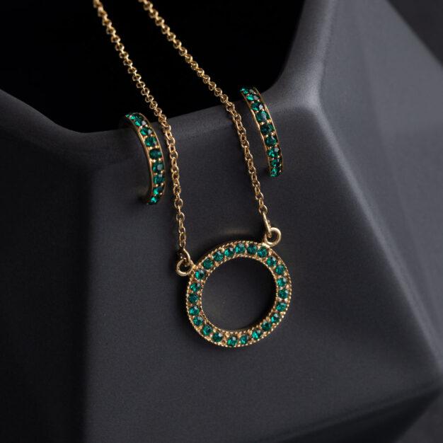 Megberry Circle of Life Emerald & Gold Pendant & Earrings