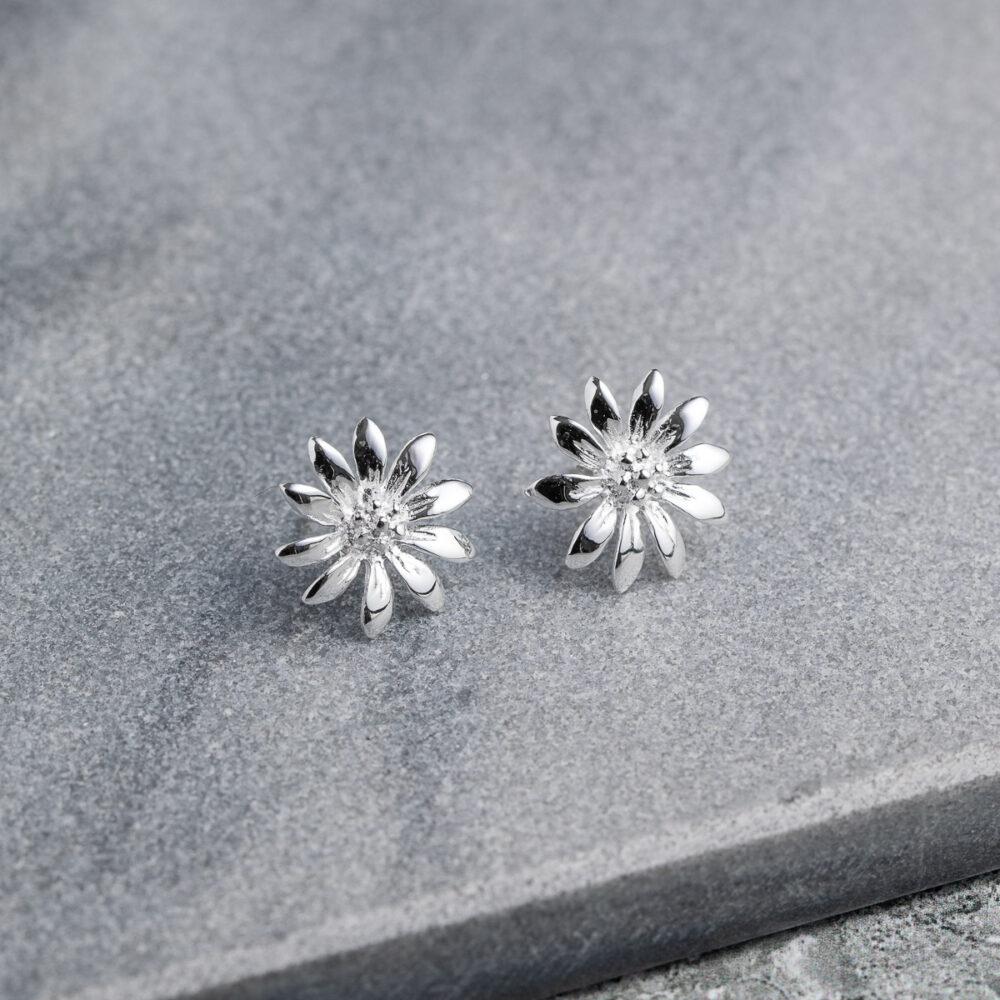 Megberry Marguerite Daisy Sterling Silver Earrings
