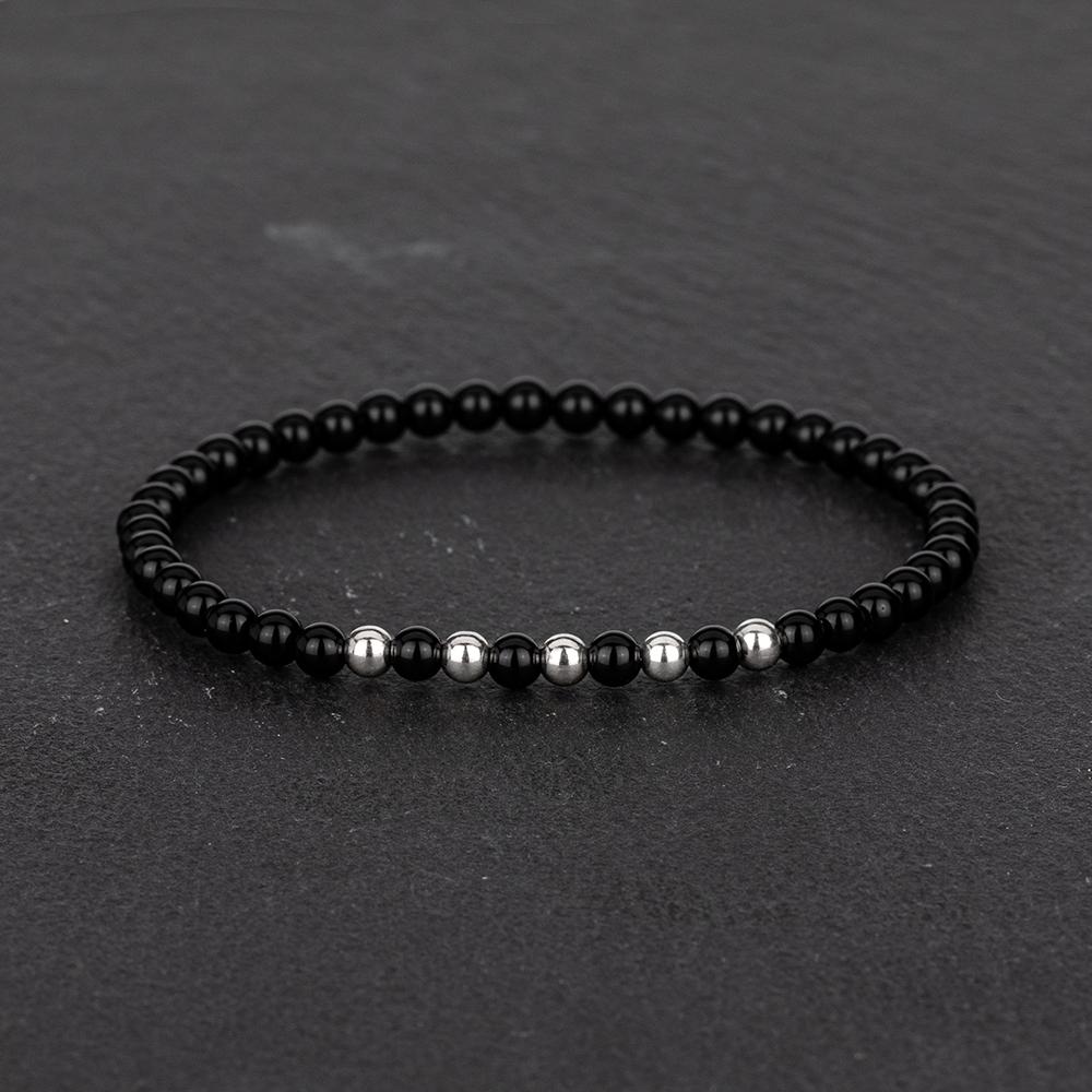 Megberry Essentials for Men Black Onyx Sterling Silver Beaded Bracelet