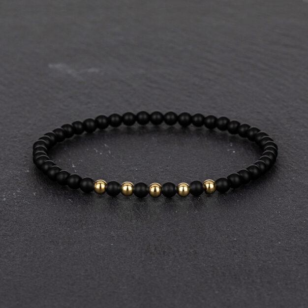 Megberry Essentials for Men Matt Black Onyx & Gold Beaded Bracelet