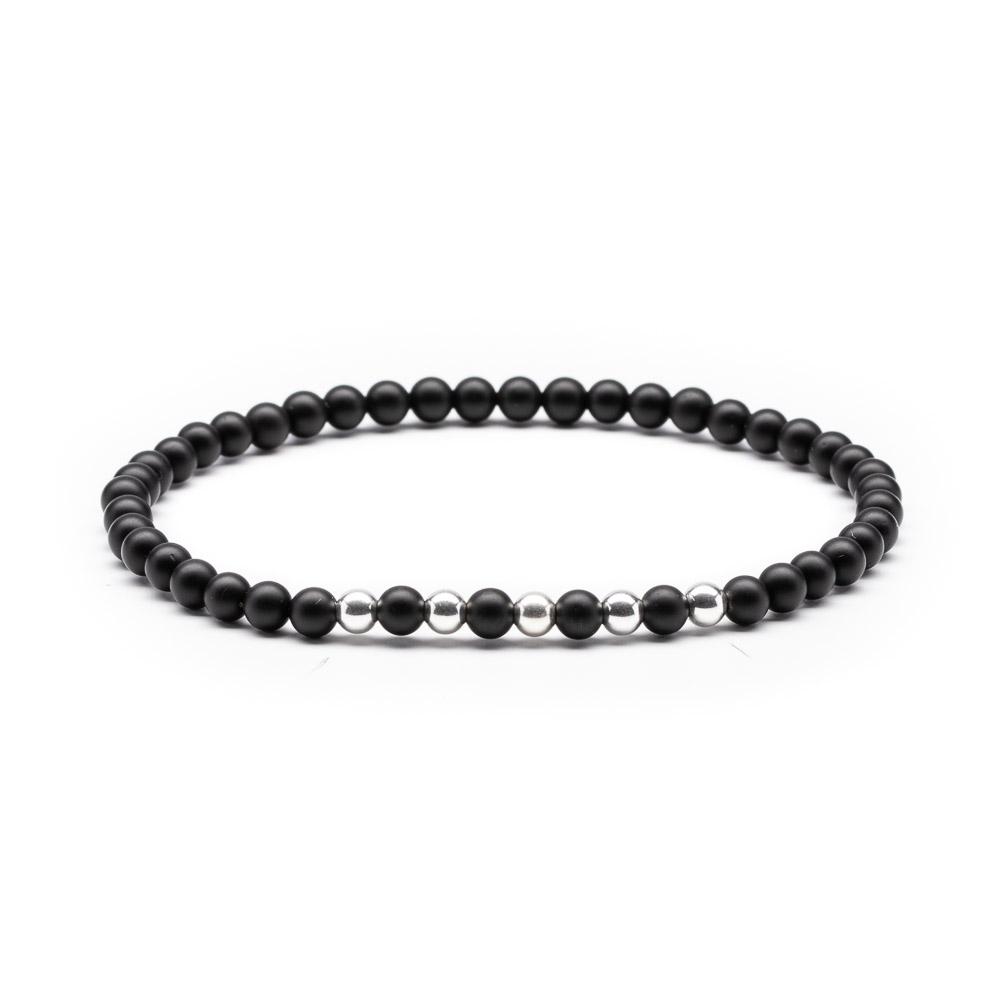 Megberry Essentials for Men Matt Black Onyx Sterling Silver Beaded Bracelet