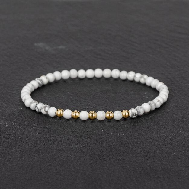 Megberry Essentials for Men White Howlite & Gold Beaded Bracelet